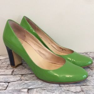 Kate Spade Color block green and navy pumps 6